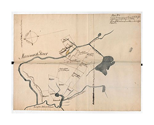 Map New Merrimack River Plan No: 2: Eastern New Hampshire & Massachusetts Shows disputed land (coloured yellow) on Merrimack River near Concord, New Hampshire (around
