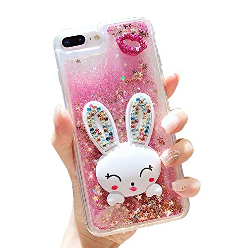 Glitter Liquid Case for iPhone 6S Plus Pink, Mistars Transparent Soft TPU Bumper with 3D Bling Diamond Lips and Bunny Stand Function Design Protective Case for Apple iPhone 6 Plus / 6S Plus (5,5
