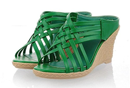 Pantuflas Romanas green Zapatos GLTER Tacones Rojo Beige Peep para Pies Sandalias Amarillo Mujer Bombas Verde Toe RXZZIvr