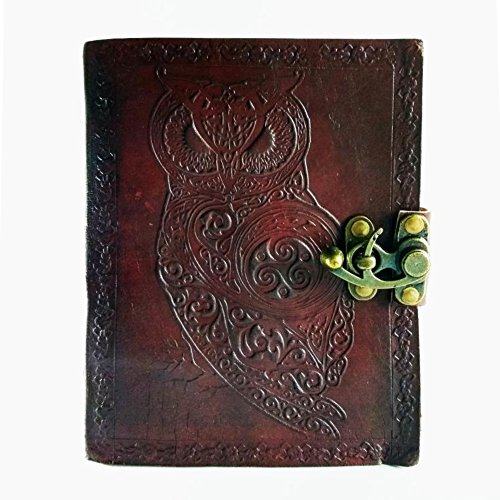 Vintage Leaf Leather Cover Loose Leaf Blank Journal Diary (Grey) - 3