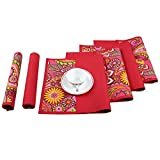 Reversible Printed Cotton Placemats Set of 12,Indian Home Decor Dining Room 200TC,13x19 Inches