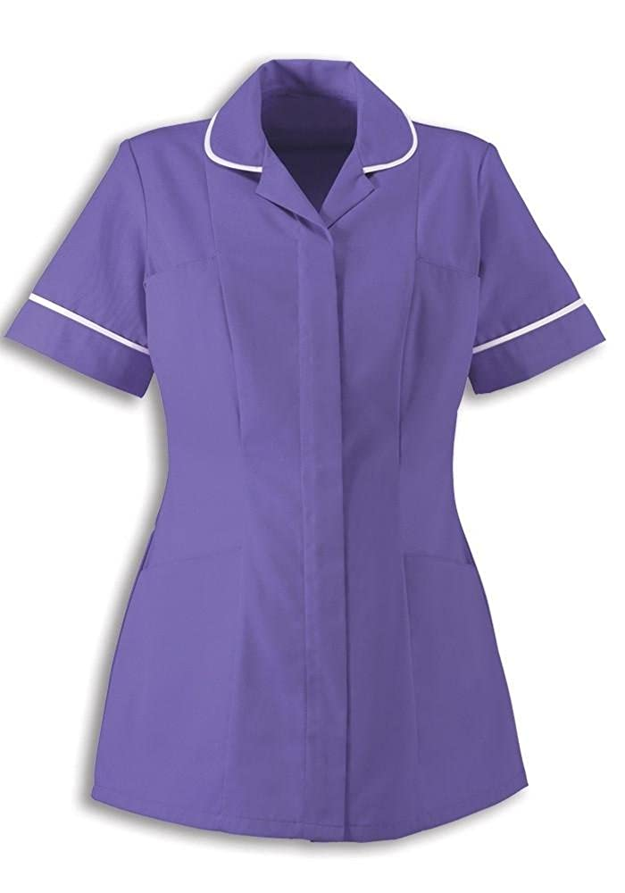 Alexandra Traditional Ladies Women Nursing Tunics NHS Health Medical Care (14, Purple/White)