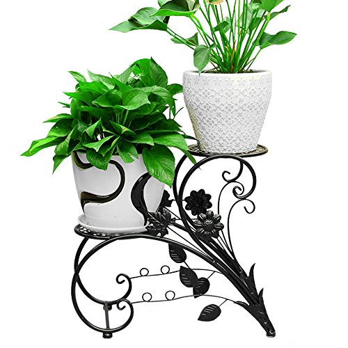 (DoubleWin 2 Tier Black Iron Plant Stand, 2 Round Etagere Plant Shelf Flower Pot Plant Holder Planters Display Rack Indoor / Outdoor Use)