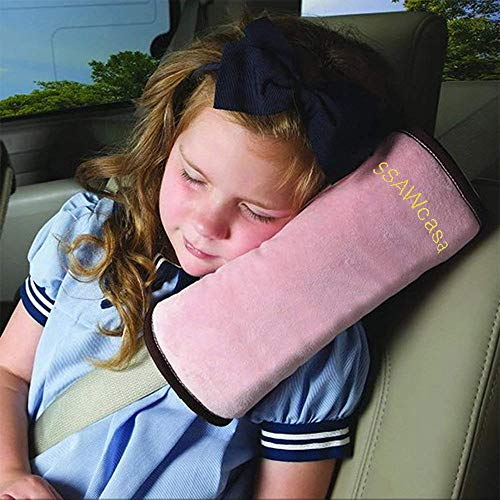 (SSAWcasa Travel Pillow Kids Car,Seat Belt/Seatbelt Pillow for Sleep,Toddler Seat Belt Neck Support Pad,Vehicle Children Baby Safety Strap Plush Soft Cushion Headrest Shoulder Cover Pad (Pink))