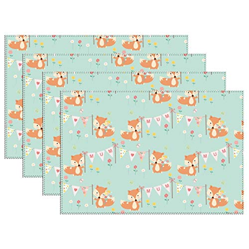 DKISEE Stain Resistant Placemats, Mum Mummy and Baby Foxes03 Anti-Skid Washable Polyester Table Mats Non Slip Washable Placemats, 12