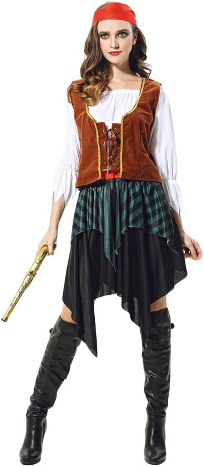 YuanDian Hombre Mujer Parejas Disfraz de Pirata de Halloween ...