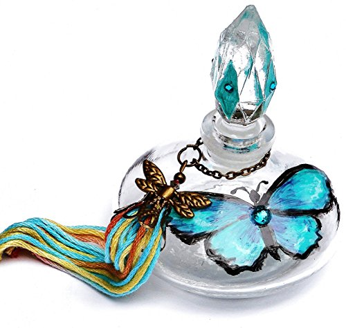 glass-perfume-bottle-with-hand-painted-turquoise-blue-butterfly-bohemian-decor-accent
