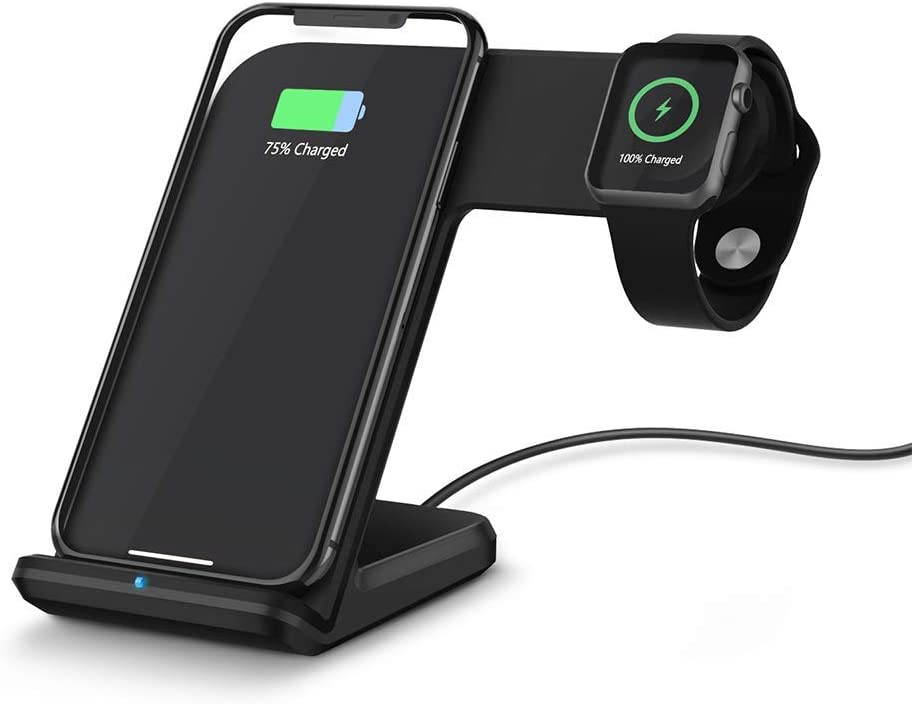 NextHit Wireless Charger Stand for Apple Watch Series 5/4/3/2/1, 2 in 1 Charging Dock for iPhone 11 Pro Max/XR/XS/XS MAX/X/8/8 Plus, Qi Fast Charge Station for iWatch Upgraded (Black)
