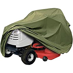 "Riding Lawn Tractor Mower Cover, Heavy Duty, Waterproof , Weather / UV / Mold Resistant Up to 54"" Decks with Elastic Hem - Olive"