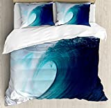 Ocean Decor Queen Size Duvet Cover Set by Ambesonne, Tropical Surfing Wave on a Windy Sea Indonesia Sumatra, Decorative 3 Piece Bedding Set with 2 Pillow Shams
