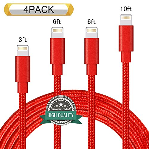Youer Lightning Cable 4Pack 3FT 6FT 6FT 10FT Nylon Braided Certified iPhone Cable USB Cord Charging Charger for Apple iPhone 8, X, 7, 7 Plus, 6, 6s, 6+, 5, 5c, 5s, SE, iPad, iPod Nano, Touch (Silver)