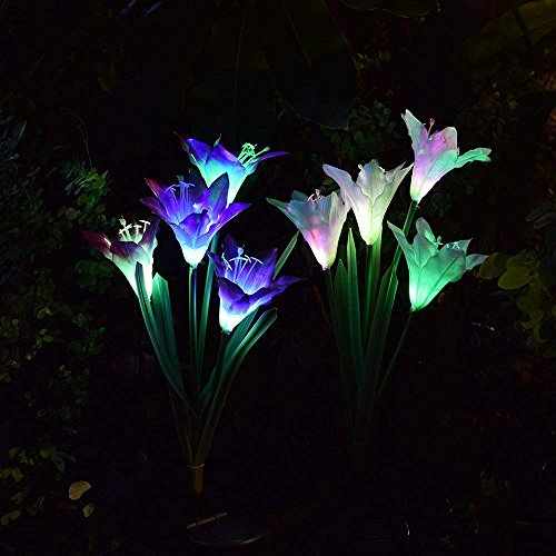 SW SAPPYWOON Outdoor Solar Flower Lights, 2 Packs Solar Garden Stake Lights with 8 Lily Flowers, Multi-Color Changing LED Solar Outdoor Garden Lights for Garden, Patio, Backyard (Purple and White) by SW SAPPYWOON (Image #5)