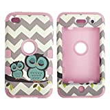 iPod Touch 4th Generation Case,Lantier 3 Layers Verge Hybrid Soft Silicone Hard Plastic TUFF Triple Impact Shockproof Quakeproof Defender Drop Resistance Protective Case Cover Waves Cheveron Owl Pink