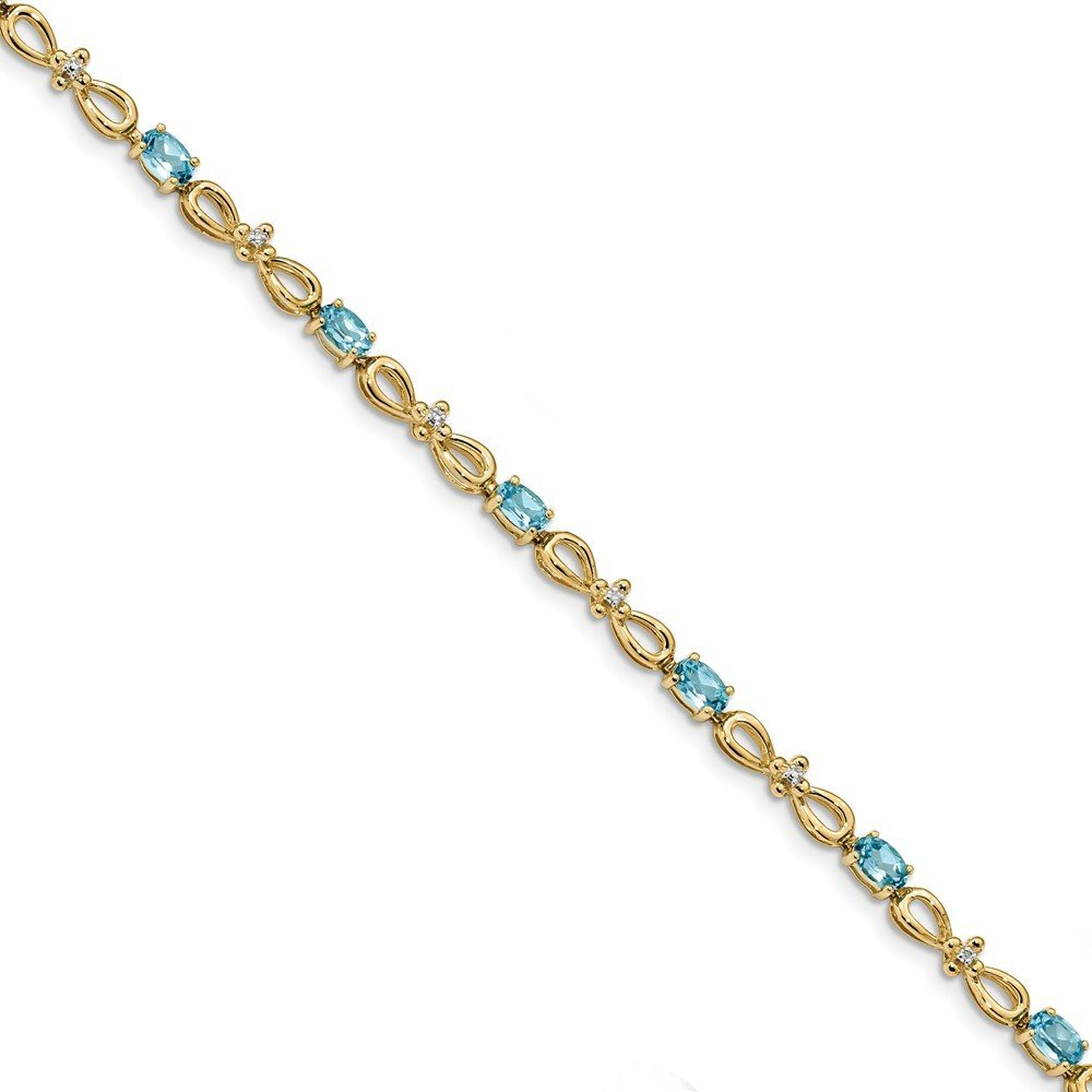 3.3mm 14k Polished 0.01ct. Diamond and 3ct Blue Topaz 7.5inch Bracelet