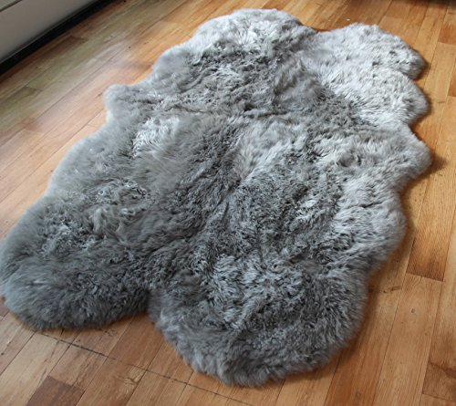 Genuine Quad Sheepskin Rug in Grey (190x120cm) (74'x47')