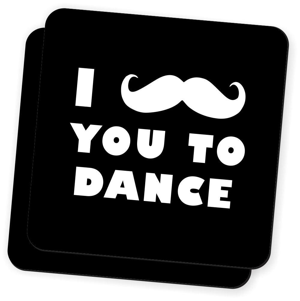 Rikki Knight I Mustache You To Dance Black Color Design Soft Square Beer Coasters (Set of 2), Multicolor