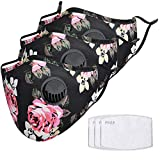 3pc Outdoor Riding Face Bandanas with Breath Valves for Adults, 3pc Activated Carbon Filter, Dustproof Windproof Anti Dust Safety Face Shield for Running Cycling