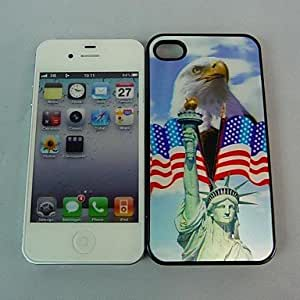 LZXEagle and Flag Statue of Liberty Pattern 3D Effect Case for iPhone 4/4S , Black