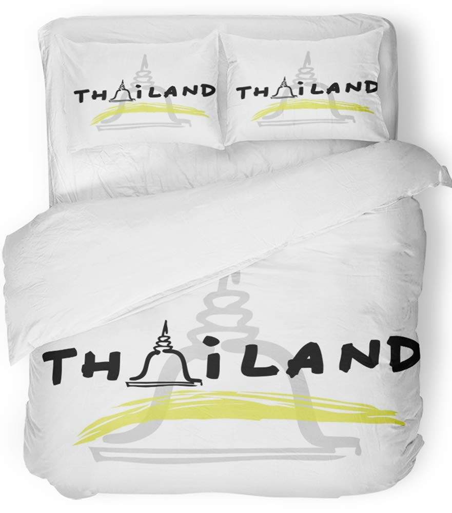 Emvency Bedsure Duvet Cover Set Closure Printed Decorative Bangkok Thailand Travel Cartoon Thai Architecture Asia Beautiful Black Building Breathable Bedding Set With 2 Pillow Shams Full/Queen Size by Emvency