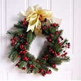 Liveinu Christmas Cedar Wreath with Berries Grapevine Wreath Base for Front Door Marion Winter Berry Wreath Indoor Wall Décor Spruce Berry with Bow 15 Inch