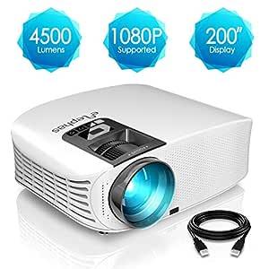 Proyector HD, ELEPHAS 1080P LCD Video proyector Full HD con 4500 lúmenes, Cine en casa con una Pantalla de 200 Pulgadas, Compatible con HDMI VGA AV ...
