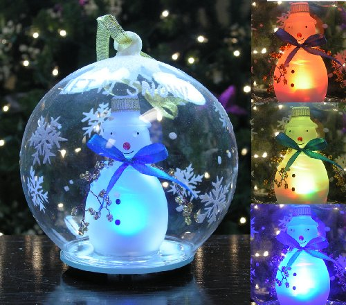 LED Snowman Christmas Ornament Glass Globe Color Changing Hand Painted Snowflakes 5 Inch Diameter