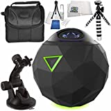 360fly 4K Video Camera 7PC Accessory Bundle - Includes 48 Monopod, Flexible Gripter Tripod, Carrying Case, Cleaning Kit, Microfiber Cleaning Cloth, MORE