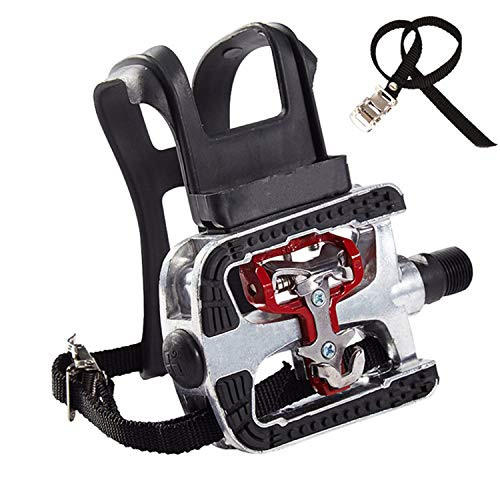 NAMUCUO SPD Pedals - Hybrid SPD Pedal with Toe Clip and Straps. for Spin Bike, Indoor Exercise Bike and All Bikes with 9/16