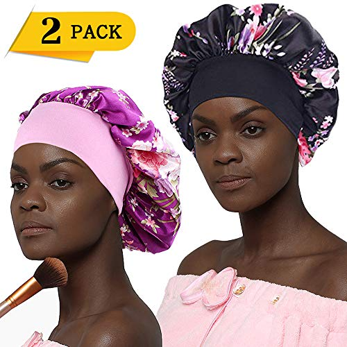 Bonnet for Women, Extra Wide Band Silk Bonnets for Natural Hair Satin Sleep Cap with Elegant Patterned (2 Pack)