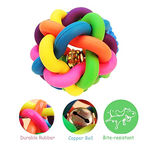 Mainstreet Dog Retriving Chew Knot Ball Woven Braided Rainbow Bouncy Rubber Toy with Jingle Bell Inside for Pet Training and Teeth Cleaning Toy Suitable Large Aggressive Dogs (L Diameter:4.3 inch)