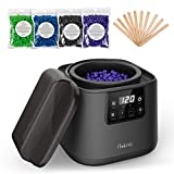 iTeknic Wax Warmer Hair Removal Waxing Kit Hard Wax Machine with Adjustable Temperature LED Display Professional Home Wax Heater with 4 Scents Wax Bean and 10 Wax Sticks for Face, Legs, Arms, Bikini