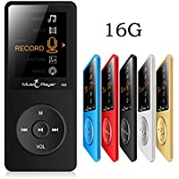 HONGYU 2016 New Ultrathin Built-in Speaker MP3 MP4 Music Player with 16GB storage and 1.8 Inch Screen / FM / e-book / Voice recorder / Alarm clock / Calendar multifunctional Media Player (Black)