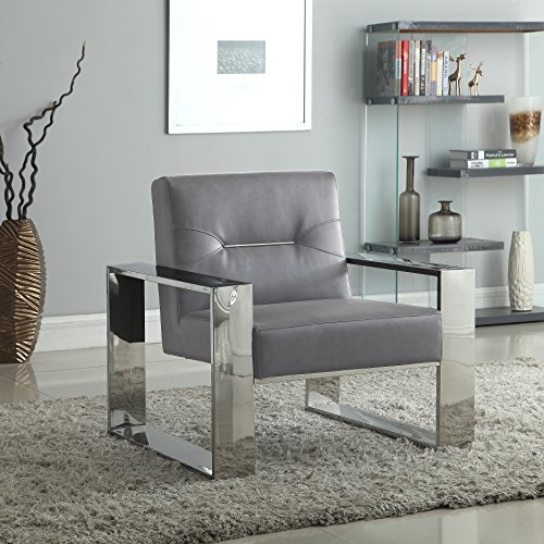 Iconic Home Colton Modern Contemporary Sculptural Polished Nickel - Finished Stainless Steel Leatherette Accent Chair, ()