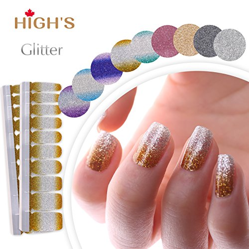 HIGH'S EXTRE ADHESION 20pcs Nail Art Transfer Decals Sticker Glitter Series The Cocktail Collection Manicure DIY Nail Polish Strips Wraps for Wedding,Party,Shopping,Travelling (Golden Age) ()