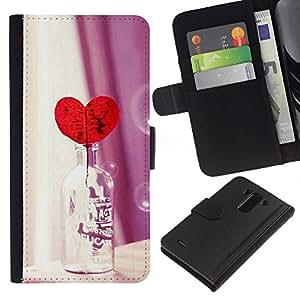 Planetar® Modelo colorido cuero carpeta tirón caso cubierta piel Holster Funda protección Para LG G3 / D855 / D850 / D851 ( Love Heart Bottle )