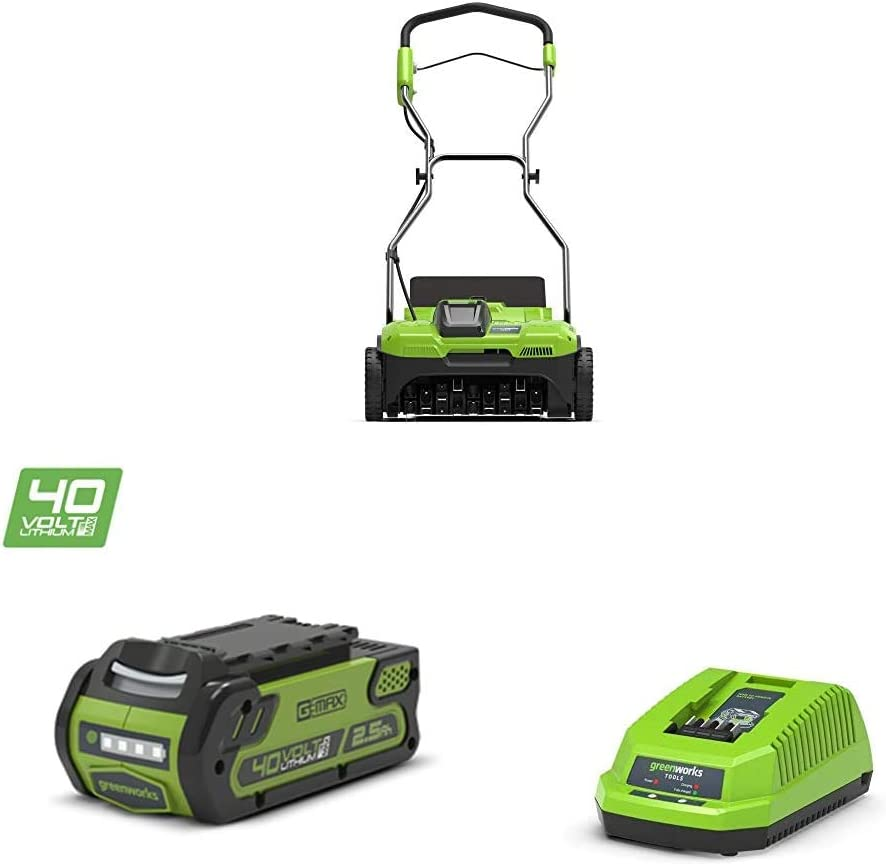 Greenworks Aireador Batería inalámbrica G40DT35 + Batería G40B25 + Cargador de baterías