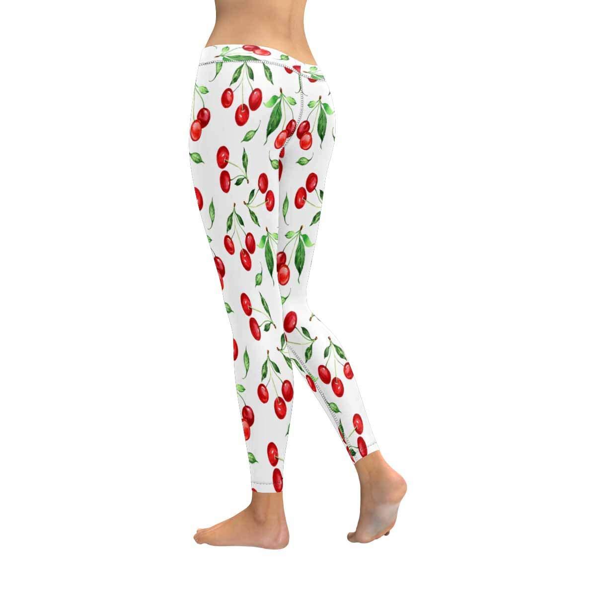 InterestPrint Womens Soft Slim Leggings Pattern Cherry Stretchy Active Leggings XXS-5XL