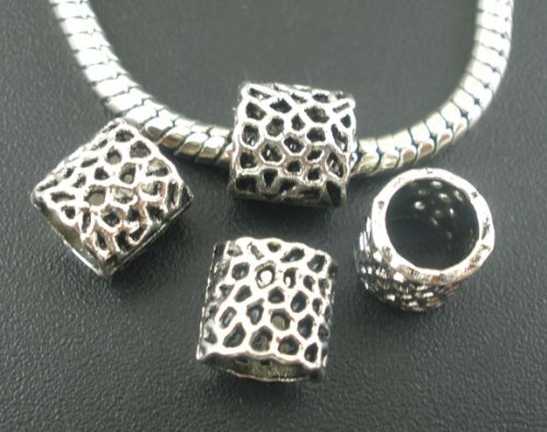 (50pc Antique Silver Carved Pattern Spacer Beads Large Hole Fits European Brac...)