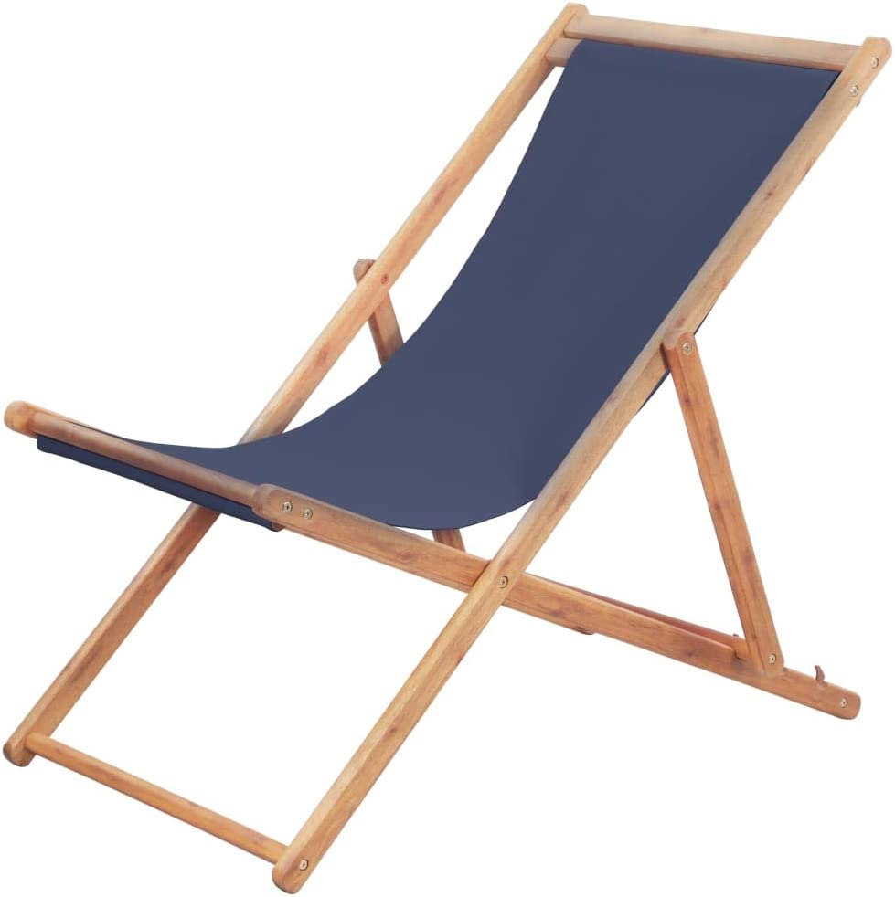 Tidyard Silla de Playa Plegable de Estructura de Madera de Eucalipto y Asiento de Tela Azul y Poliéster 100%, Hamacas Playa Hamaca Madera