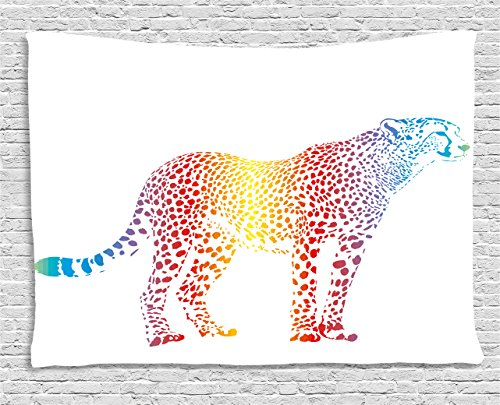 Ambesonne Rainbow Tapestry by, Cheetah Rainbow Colored Smokescreen