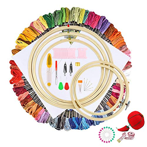 176pcs Embroidery Starter Kit Cross Stitch Set Including 100 Color Embroidery Threads,5 Pieces Bamboo Embroidery Hoops, 2 Pieces Aida Cloth, 60 inch Tape,20 Pieces Positioning pins,1Pieces - Embroidery Kit Beginner