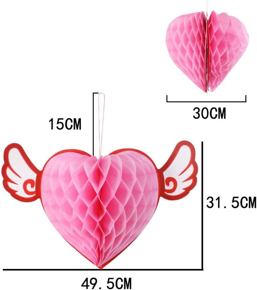 Heart Shaped Paper Ball Valentines Day Paper Decoration Honeycomb Ball or Wedding Baby Shower Birthday Party Festivals Carnivals Decorations