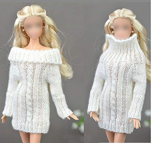 Yerong Doll Sweater,Doll Clothes,Compatible Barbie,12inch Doll Sweater,12inch Doll Clothes,Handmade,Hand Knit,Pure White Clothes Sweater,Coat Dress