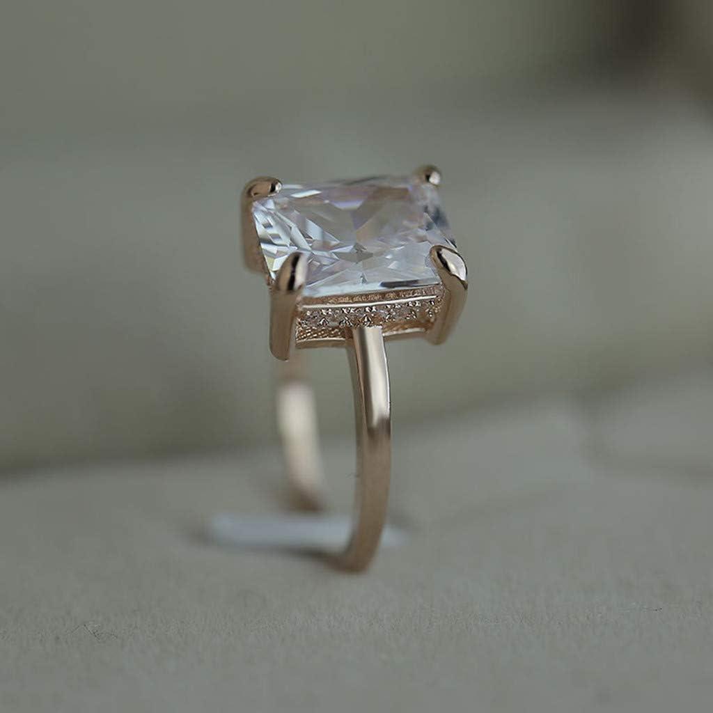 Wedding Ring for Women Rose Gold Geometric Square Diamonds Gorgeous Creative Wedding Engagement Anniversary Jewelry Gift