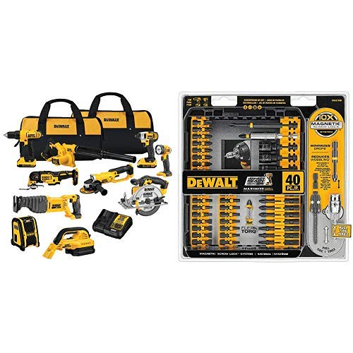 DEWALT DCK1020D2 20V Combo Kit with DWA2T40IR IMPACT READY FlexTorq Screw Driving Set, 40-Piece
