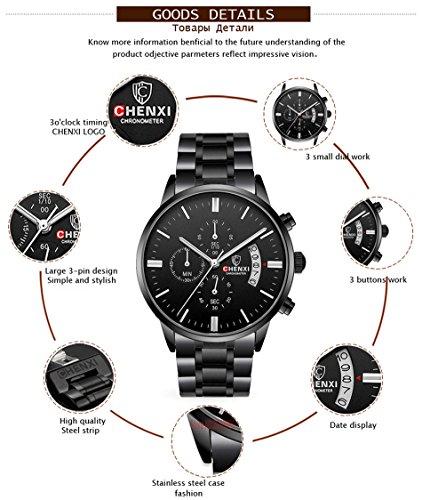 Men's stainless steel watch business sports watch waterproof quartz watch main pointer luminous display chronograph multi-purpose leisure watch