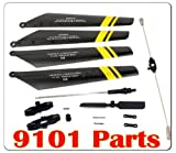 Yellow Double Horse 9101 RC Helicopter Quick Wear Spare Parts Set(balance bar/connect buckle/main blade grip set/bottom fan clip/inner shaft/Tail Rotor/Main Blades Set)