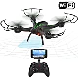 Beebeerun Wifi FPV Quadcopter Drone with Camera Live Video 2.4GHz 6-Gyro Headless Mode Altitude Hold One-Key Function VR Headset-Compatible Gravity Induction Damage Resistance, Black