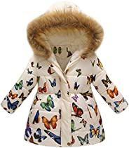 Kehen Big Girl Autumn Winter Parka Down Coat Butterflies Print Puffer Trench Jacket Padded Overcoat with Fur H