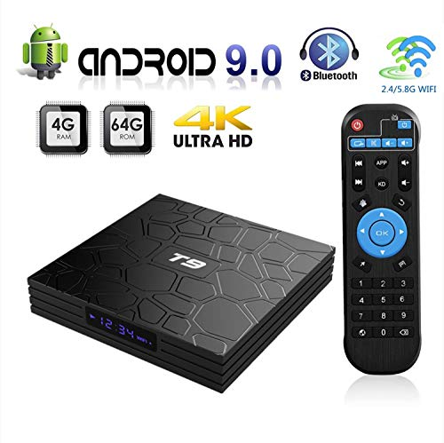 Android 9.0 TV Box, T9 Android TV Box 4GB RAM 64GB ROM RK3328 Quad-core 64 Bits Set Top Box Support 4K 3D 2.4Ghz/5Ghz…